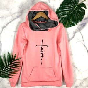 "Sweaters - Women's Pink ""Faith"" Hoodie Graphic Sweatshirt"